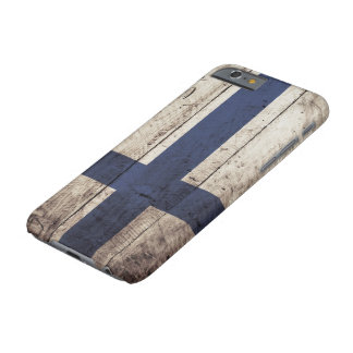 Finland Flag on Old Wood Grain Barely There iPhone 6 Case