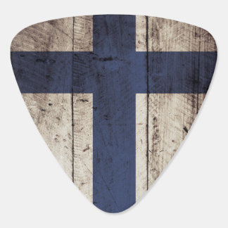 Finland Flag on Old Wood Grain Guitar Pick