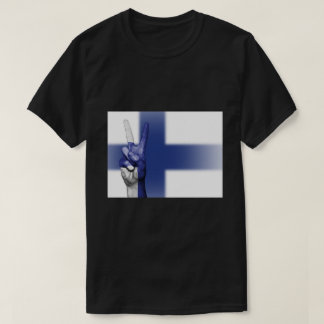 Finland Flag Peace Sign - Patriotic T-Shirt