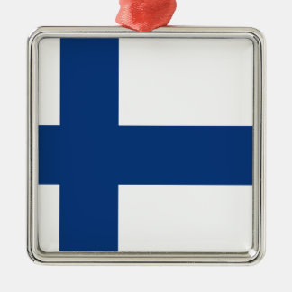 Finland flag Silver-Colored square ornament