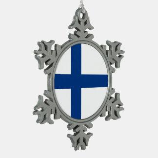 Finland Flag Snowflake Pewter Christmas Ornament