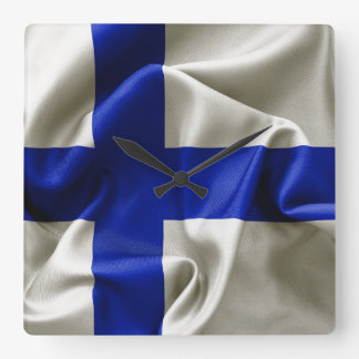 Finland Flag Square Wall Clock