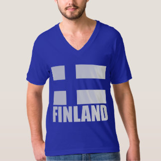 Finland Flag White Text Blue T-Shirt