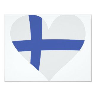 """Finland heart icon 4.25"""" x 5.5"""" invitation card"""