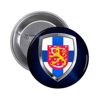 Finland  Metallic Emblem 2 Inch Round Button