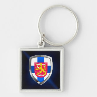 Finland  Metallic Emblem Silver-Colored Square Keychain