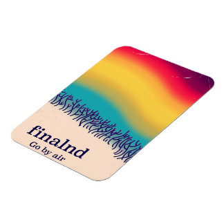 Finland retro vacation 'rainbow' poster print. magnet