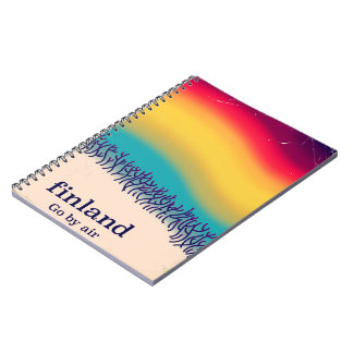 Finland retro vacation 'rainbow' poster print. spiral notebook