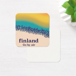 Finland retro vacation 'rainbow' poster print. square business card