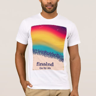Finland retro vacation 'rainbow' poster print. T-Shirt