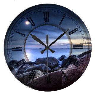 Finland sea rocks beautiful moon light Clock Art