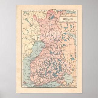 Finland Vintage 1923 Map Print