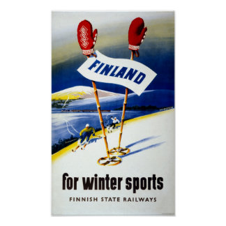Finland Vintage Travel Poster Restored