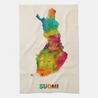 Finland Watercolor Map (Suomi) Kitchen Towel