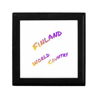 Finland world country, colorful text art gift box