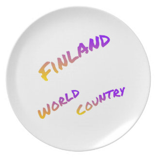 Finland world country, colorful text art plate