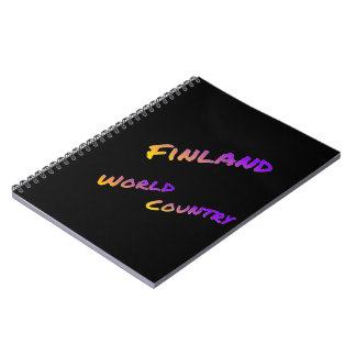Finland world country, colorful text art spiral note book