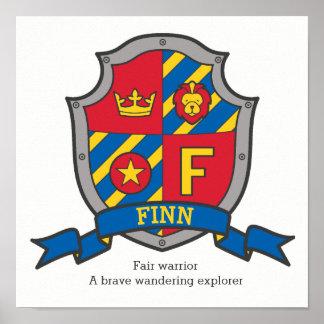 Finn boys F name meaning heraldry shield poster
