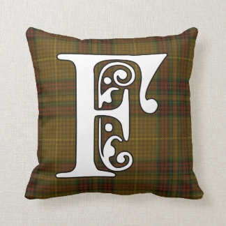 Finnegan Clan Tartan Monogram Throw Pillow