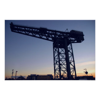 Finnieston Crane at sunset over Glasgow Poster