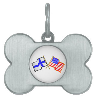Finnish American Flags Pet Tags