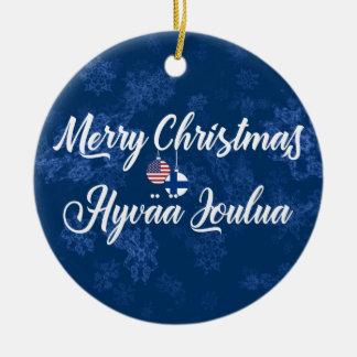 Finnish American Holiday Decoration, Hyvää Joulua Ceramic Ornament