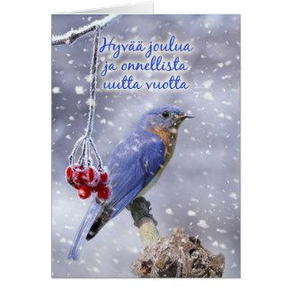 Finnish - Blue Bird Christmas Greeting Card