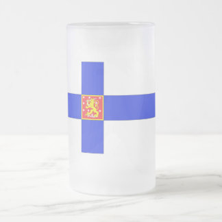 Finnish flag frosted glass beer mug