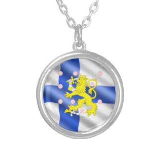 Finnish flag silver plated necklace