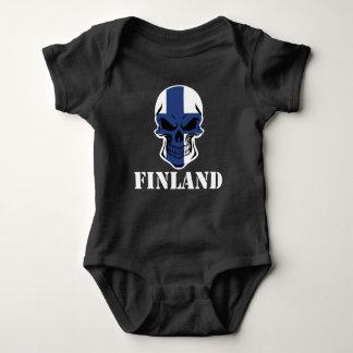 Finnish Flag Skull Finland Baby Bodysuit