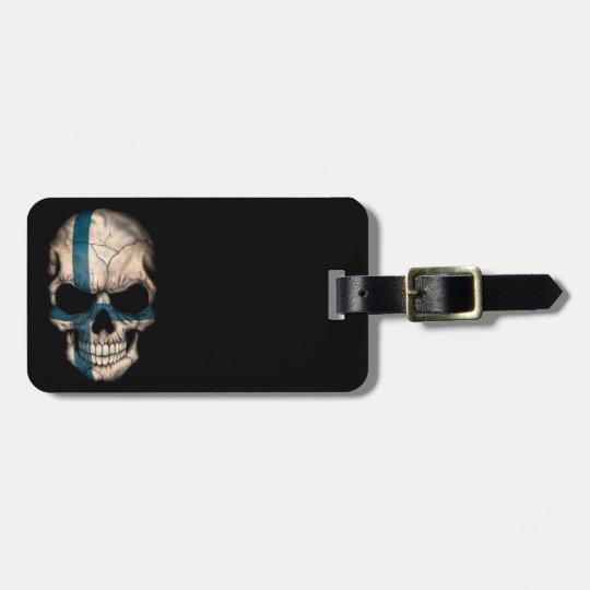 Finnish Flag Skull on Black Luggage Tag