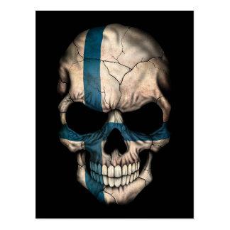 Finnish Flag Skull on Black Post Cards
