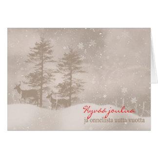 Finnish Language Happy Holidays Stylish Christmas Card