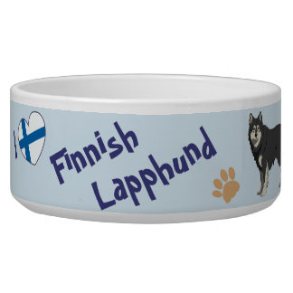 Finnish Lapphund dog bowl blue with your dogs name