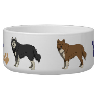 Finnish Lapphund dog bowl with your dogs name
