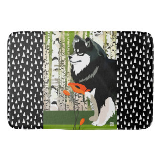FINNISH LAPPHUND IN POPPIES   crate or bath mat