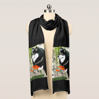 FINNISH LAPPHUND  in POPPIES  scarf