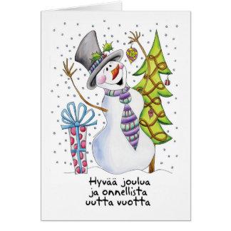 Finnish - Snowman - Happy Snowman Christmas Card -