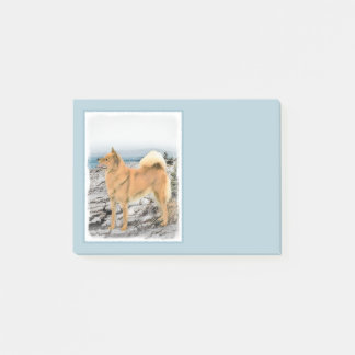Finnish Spitz at Seashore Painting - Dog Art Post-it Notes