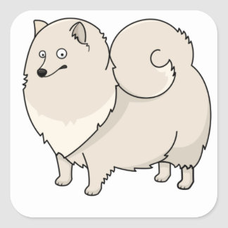 finnish spitz cartoon square sticker