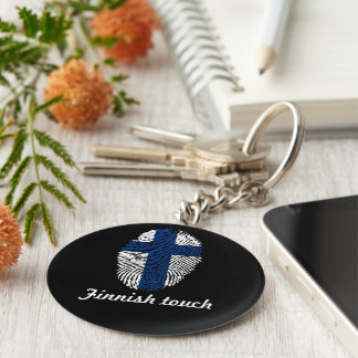 Finnish touch fingerprint flag keychain