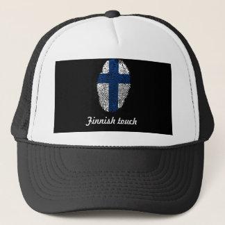 Finnish touch fingerprint flag trucker hat