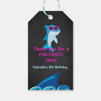 Fintastic Time... Girls Shark Thank You  Gift Tags