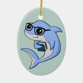 """Fintellectual"" Shark! Ceramic Ornament"