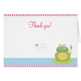 Fiona les notes pliées de Merci de grenouille vert Carte De Vœux