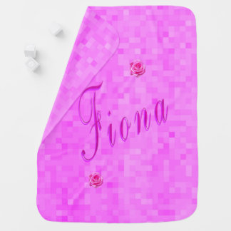 Fiona Name Logo On Pink Mosaic, Baby Blanket