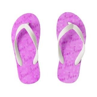 Fiona Name Logo On Pink Mosaic, Kid's Flip Flops