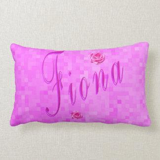 Fiona Name Logo On Pink Mosaic, Lumbar Pillow