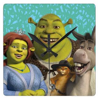 Fiona, Shrek, Puss In Boots, And Donkey Wall Clock