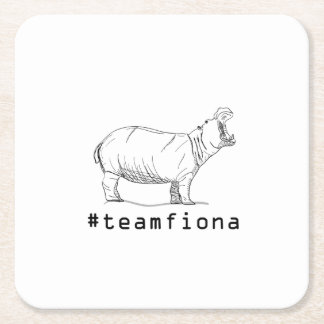 Fiona The Baby Hippo #teamfiona Hippopotamus Square Paper Coaster